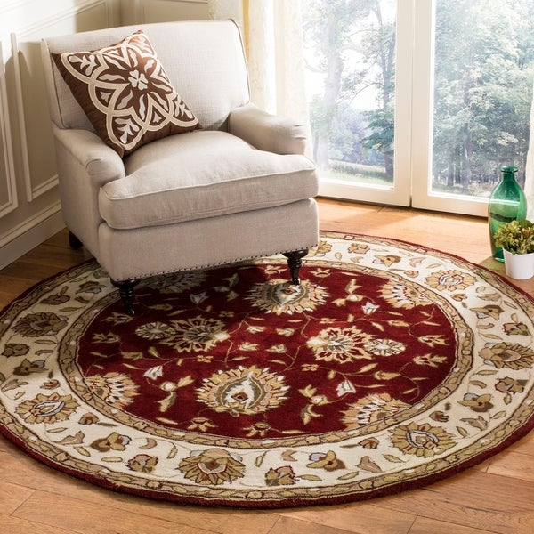 Safavieh Handmade Total Performance Transitional Burgundy / Ivory Acrylic Rug - 6' x 6' Round