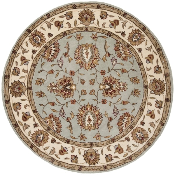Safavieh Handmade Total Performance Transitional Lightblue / Ivory Acrylic Rug - 6' x 6' Round