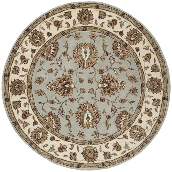 Safavieh Hand-Hooked Total Performance Traditional Light Blue / Ivory Rug (6' x 6' Round)