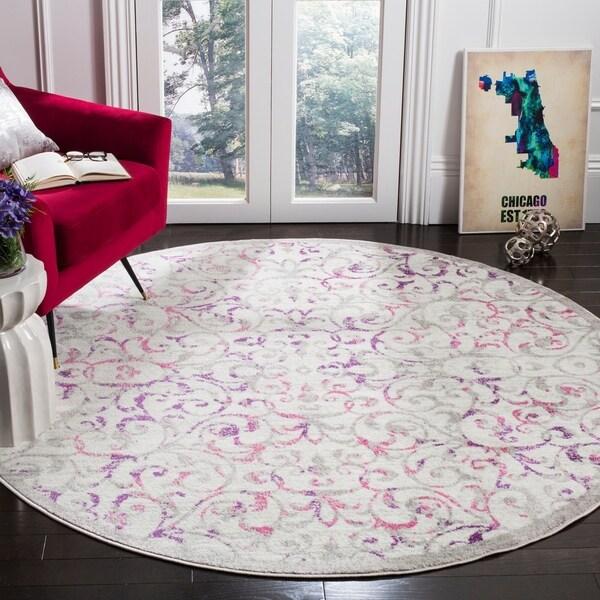"Safavieh Skyler Modern & Contemporary Ivory / Pink Rug - 6'7"" x 6'7"" round"
