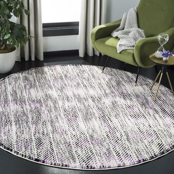 Safavieh Skyler Contemporary Grey / Purple Rug - 6'7' x 6'7' Round