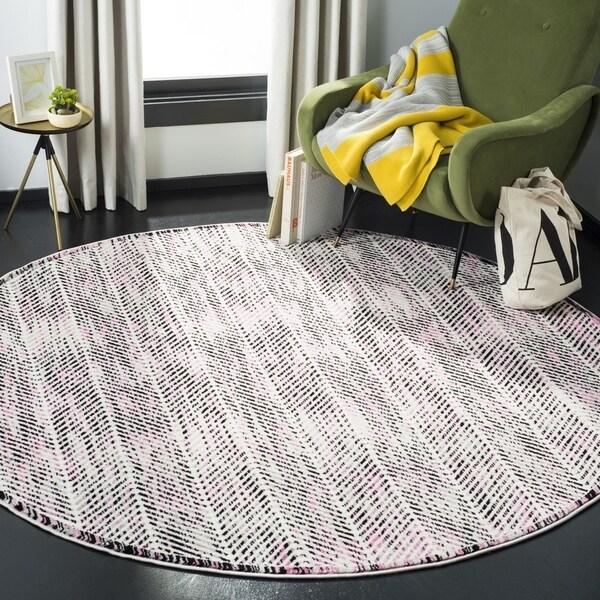 Safavieh Skyler Contemporary Grey / Pink Rug (6'7' x 6'7' Round)
