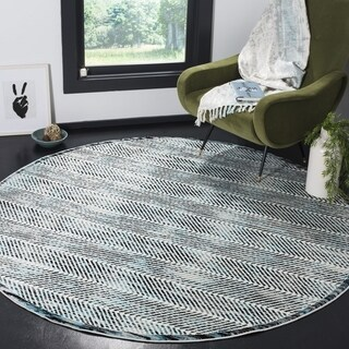 Safavieh Skyler Contemporary Grey / Blue Rug - 6'7' x 6'7' Round