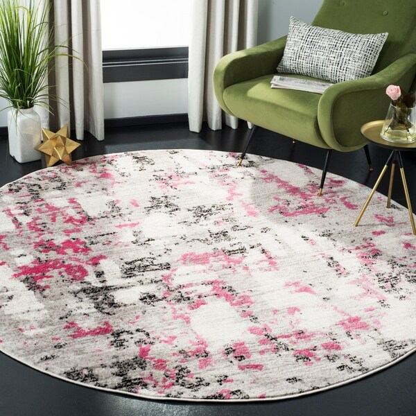 "Safavieh Skyler Modern & Contemporary Grey / Pink Rug - 6'7"" x 6'7"" round"