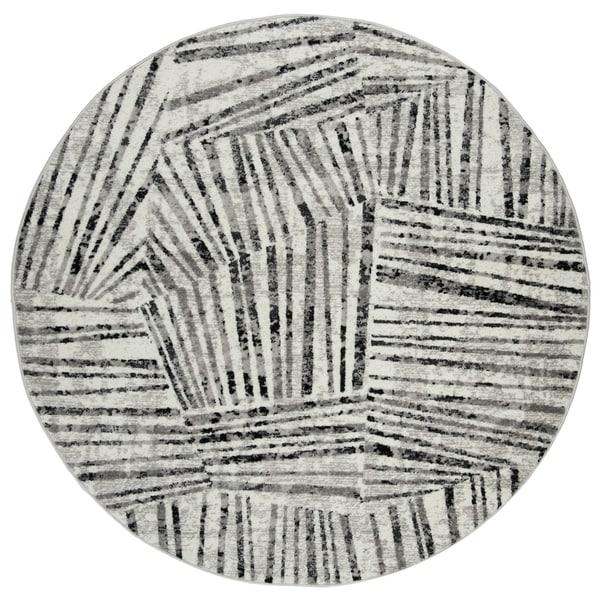 Safavieh Skyler Contemporary Grey / Ivory Rug - 6'7' x 6'7' Round