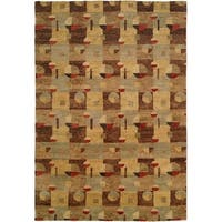 Jade Multi Color Earth Tones Hand-Knotted Area Rug (8' x 10')