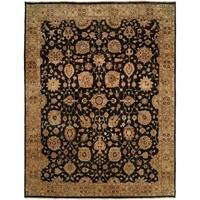Traditional Black/Camel Hand-Knotted Area Rug (8' x 10')