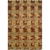 Jade Multi Color Earth Tones Hand-Knotted Area Rug (9' x 12')