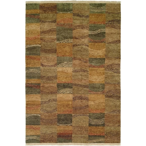 Jade Multi-Color Earth Tones Hand-Knotted Area Rug