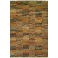 Jade Multi-Color Earth Tones Hand-Knotted Area Rug (9' x 12')