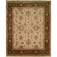 Oushak Ivory/Brown Wool Handmade Area Rug - 9' x 12'