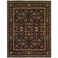 Black/Multicolor Wool Handmade Soumak Area Rug (10' x 14')