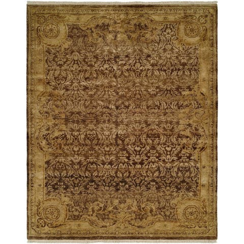 Tuscany Brown / Gold Hand-knotted Area Rug