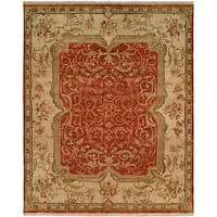 Tuscany Rust/Ivory Hand-Knotted Area Rug (10' x 14') - 10' x 14'