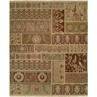 Caspian Brown/Multi Handmade Vintage Graphic Soumak Area Rug - 4' x 6'