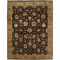 Traditional Black/Camel Hand-Knotted Area Rug (4' x 6')