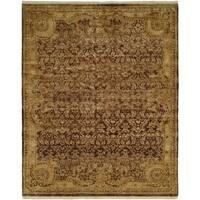 Tuscany Brown/Gold Wool Handmade Area Rug (3' x 5')