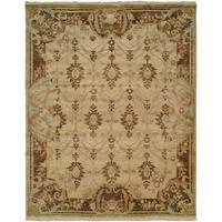 Tuscany Ivory/Brown Wool/Cotton Handmade Area Rug - 3' x 5'