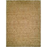 Royal Manner Derbyshire Light Green/Gold Wool Handmade Area Rug - 4' x 6'