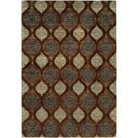 Royal Manner Derbyshire Brown Wool Handmade Formal Print Area Rug - 4' x 6'