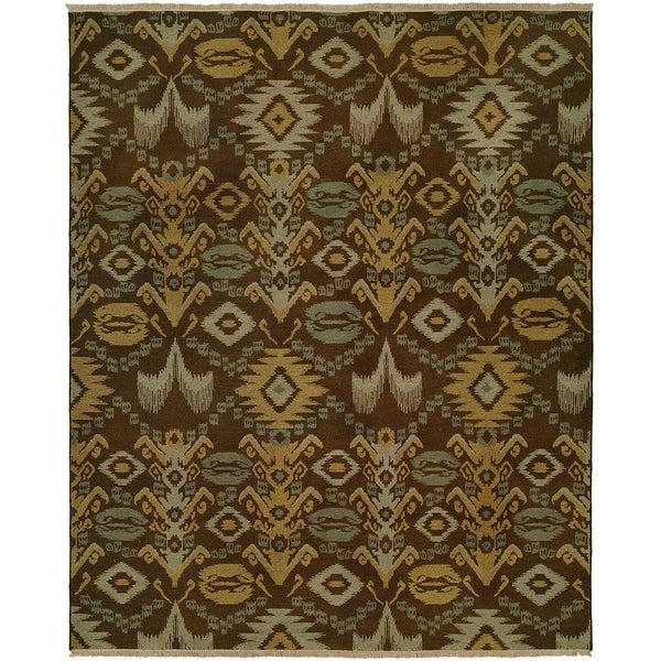 Caspian Brown/Multi Wool Handmade Vintage Graphic Area Rug (10' Round)