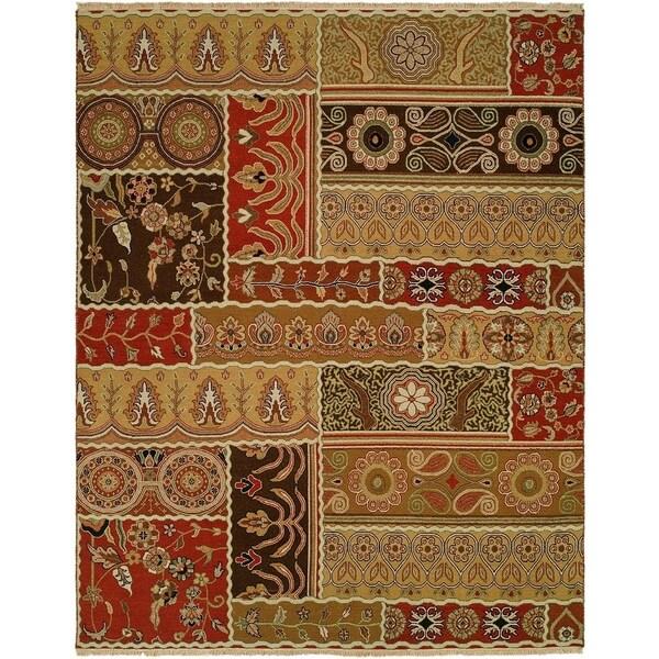 Caspian Multicolor Wool Handmade Soumak Area Rug (6' x 6')