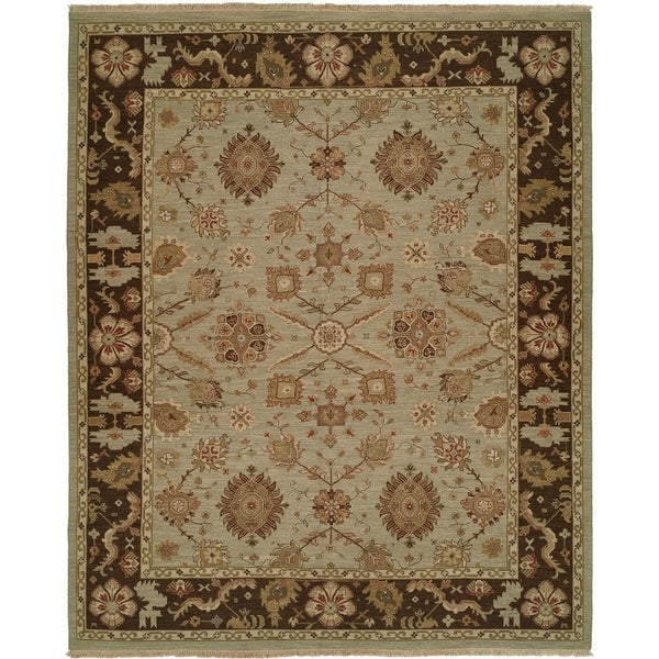 Light Blue/Brown Wool Handmade Soumak Area Rug (10' x 10')