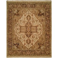 Oushak Ivory and Brown Hand-Knotted Area Rug (6' Round) - 6' Round