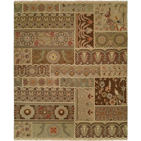 Caspian Soumak Multicolored Wool Handmade Area Rug - 6' Round