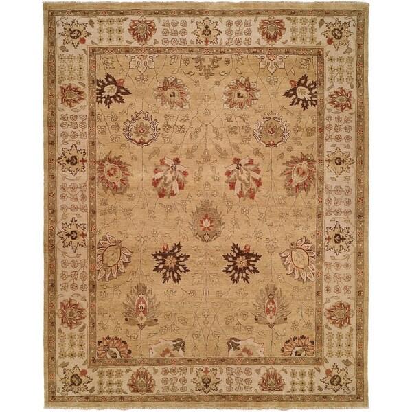 Oushak Gold/Ivory Handmade Wool Area Rug (6' Round)
