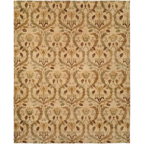 Royal Manner Derbyshire Warm Sand Wool Handmade Formal Print Area Rug (6' Round)