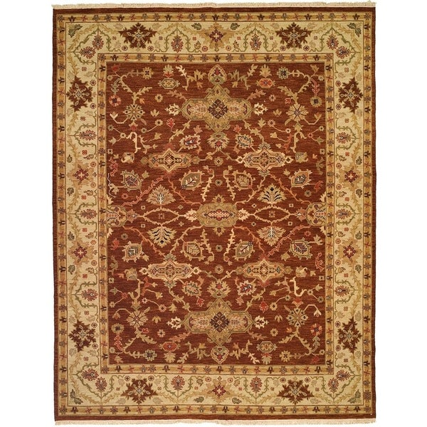 Brown/Ivory Wool Handmade Soumak Area Rug