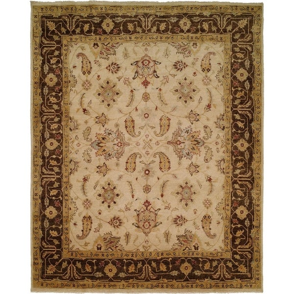 Oushak Ivory/Brown Wool Handmade Area Rug (6' Round)