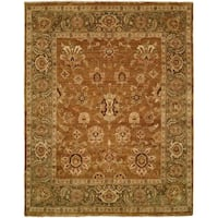 Oushak Goldy Brown/Green Wool Handmade Round Area Rug - 6' x 6'