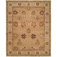 Oushak Gold/ Ivory Handmade Wool Area Rug (8' Round)