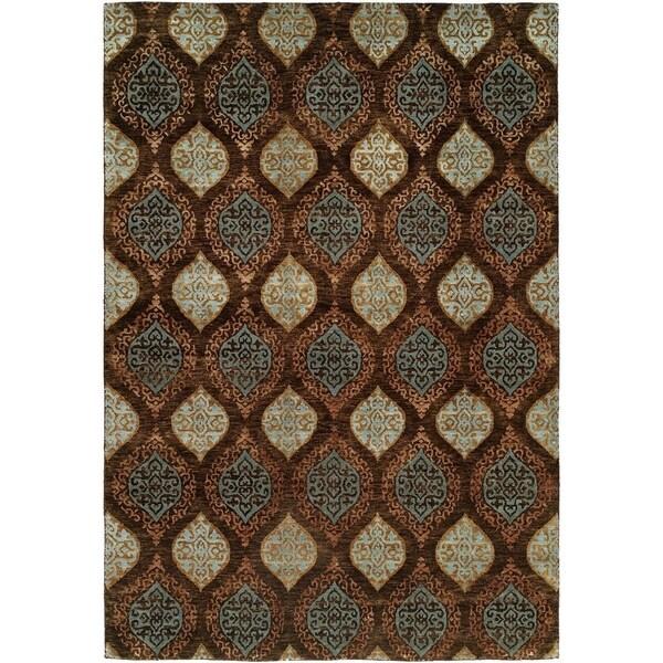 Royal Manner Derbyshire Brown Wool Handmade Area Rug - 8' x 8'