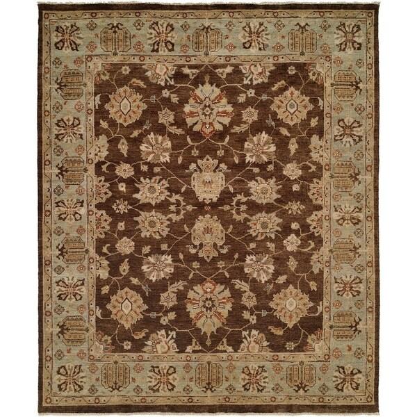 Oushak Brown/Light Blue Wool Handmade Area Rug (6' Round)