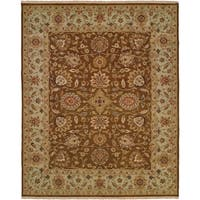 Caspian Brown/Light Blue Wool Handmade Soumak Area Rug