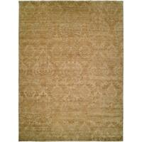 Royal Manner Derbyshire Light Green / Gold Hand-Knotted Area Rug (8' Round) - 8' Round