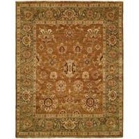 Golden Brown/Green Wool Handmade Oushak Area Rug - 8' x 8'