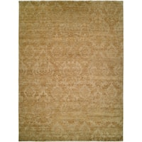 Royal Manner Derbyshire Light Green / Gold Hand-Knotted Area Rug (10' Square) - 10' square