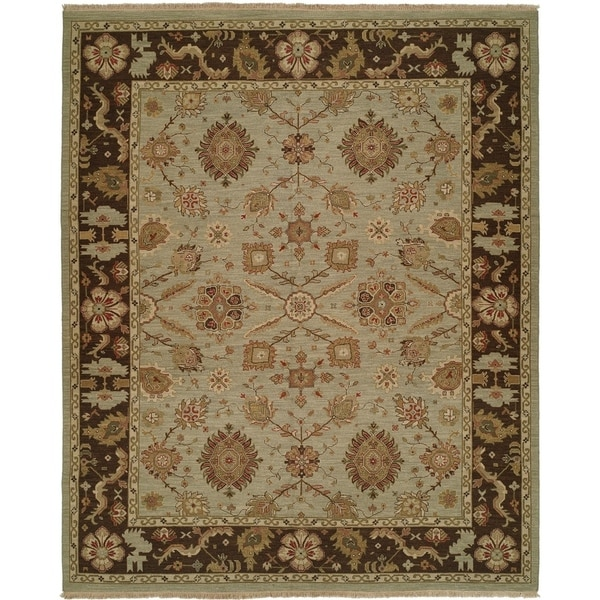 Soumak Light Blue/ Brown Hand-knotted Wool Area Rug (8' Round)