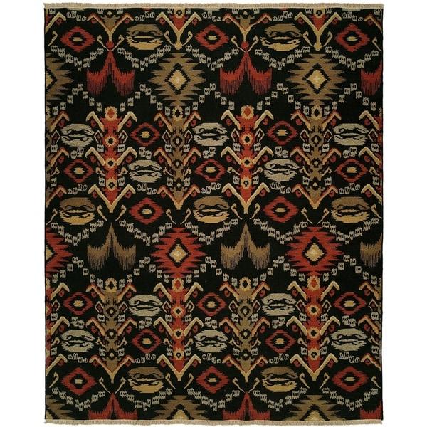 Caspian Soumak Multicolored Wool Handmade Round Area Rug