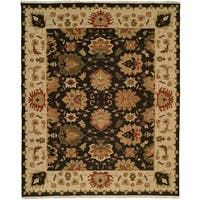Soumak Black/Ivory Hand-Knotted Soumak Area Rug (10' Square) - 10' square
