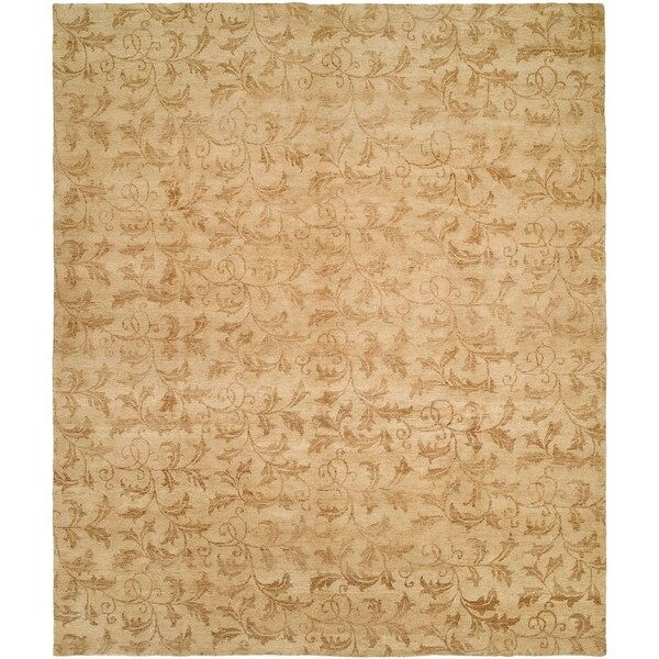 Royal Manner Derbyshire Beige Handmade Wool Area Rug - 6' Square