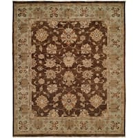 Oushak Brown and Light Blue Hand-Knotted Area Rug (10' Square) - 10' square