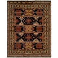 Soumak Soumak Earth Tones Wool Handmade Round Area Rug - 8' x 8'