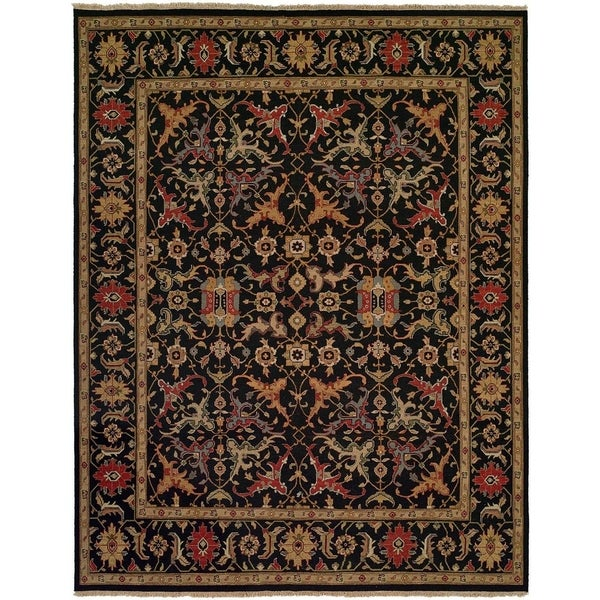 Soumak Black Wool Handmade Traditional Area Rug