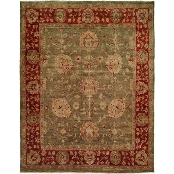 Green/Rust Wool Handmade Oushak Area Rug - 10' x 10'