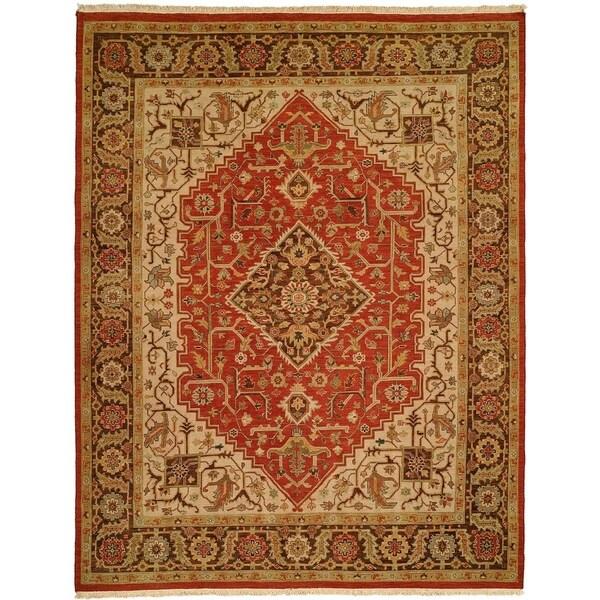 Soumak Rust/Brown Wool/Cotton Handmade Area Rug - 10' Square